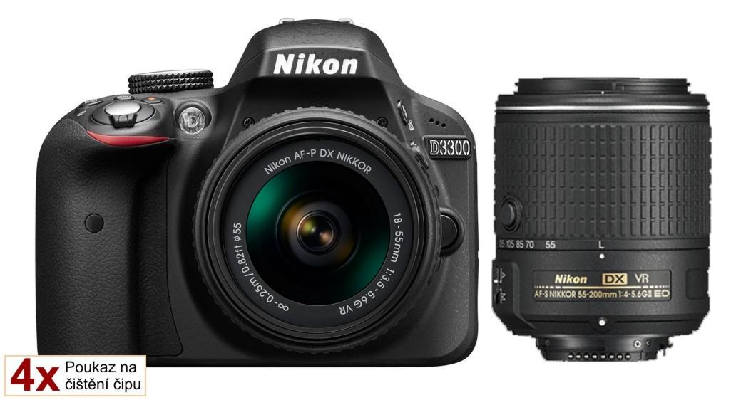 Nikon D3300 + 18-55 AF-P VR / 55-200 AF-S VR II černý