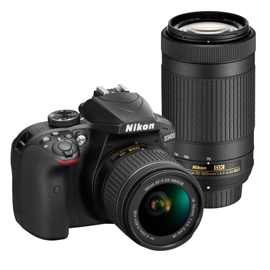 Nikon D3400 + 18-55 AF-P VR / 70-300 AF-P VR černý