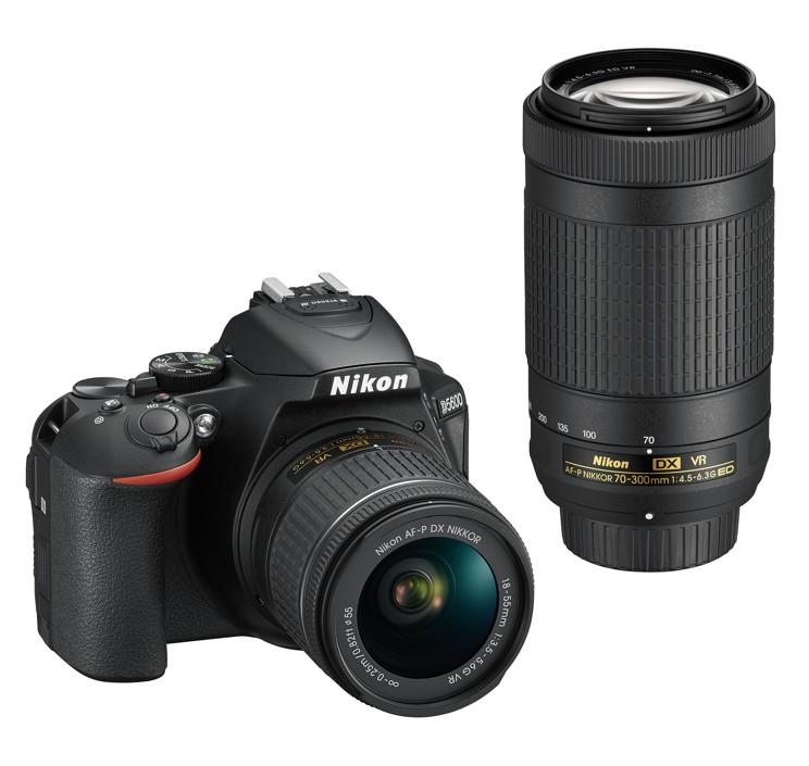 Nikon D5600 + 18-55 mm AF-P VR / 70-300 AF-P VR černý, CashBack 1350 Kč