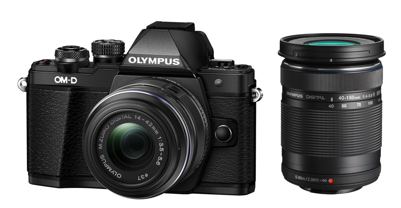 Olympus OM-D E-M10 mark II + 14-42 mm R / 40-150 R černý + Objektiv Olympus 15/8 Cap Lens BCL-1580, Karta SDHC 16GB a Náhradní baterie T6