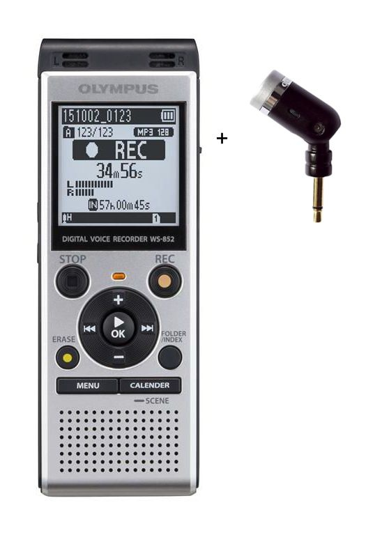 Olympus diktafon WS-852 stříbrný + ME52 mikrofon do klopy