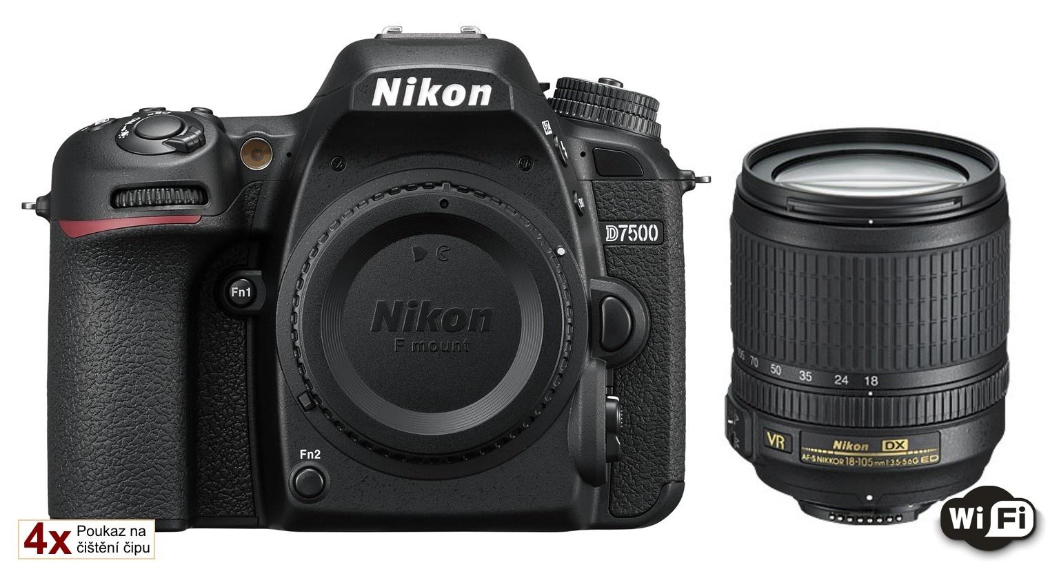 Nikon D7500 + 18-105 AF-S VR + Náhradní baterie 2000 mAh s nabíječkou na 2 baterie zároveň