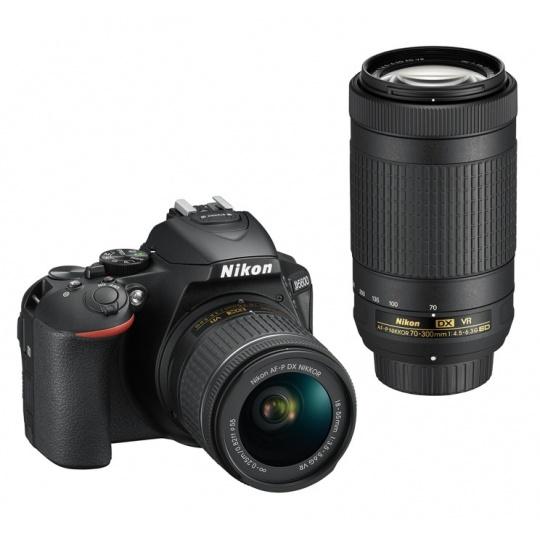 Nikon D5600 + 18-55 mm AF-P VR / 70-300 AF-P VR černý, Nákupní bonus 800 Kč (ihned odečteme z nákupu)