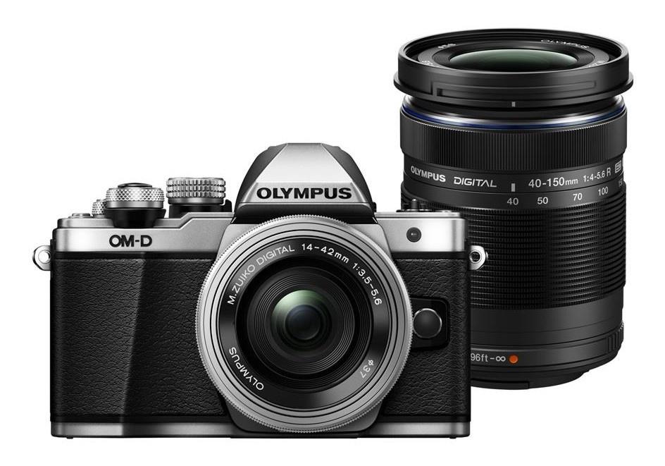 Olympus OM-D E-M10 mark II + 14-42 mm EZ / 40-150 R stříbrný + Karta SDHC 16GB a Náhradní baterie T6